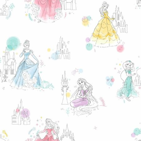 Papel de Parede Princesas Branco - DI0968A