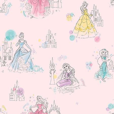 Papel de Parede Princesas Fundo Rosa - DI0969A