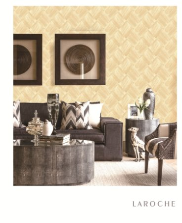 Papel de Parede Laroche - Mosaico Escovado Palha  -  SU10101