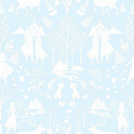 Papel de Parede Frozen Ana e Elsa Azul Gelo - DI1014A