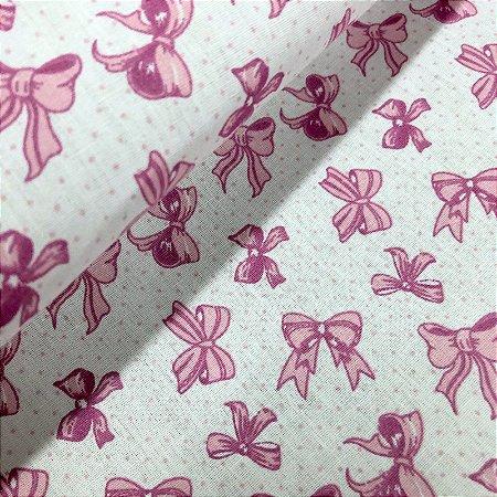 Tecido Tricoline 100% Algodão Laços Rosa fundo Branco 1,50 de largura -2952