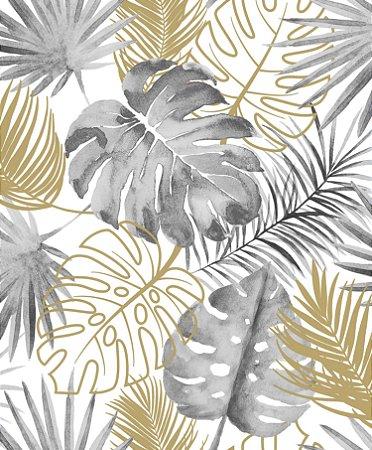 Papel de Parede Folhas Cinza e Dourado - L60409