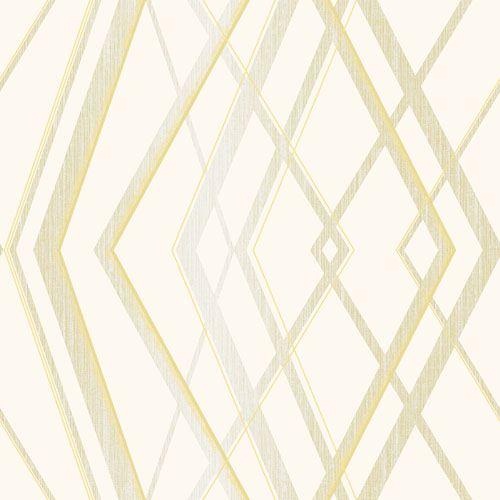 Papel de Parede Geométrico Creme Dourado - CW8412