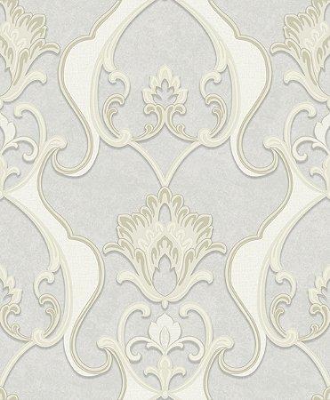 Papel de parede Florence - Brasão Flor Arabesco -Prata e Creme - FR87231