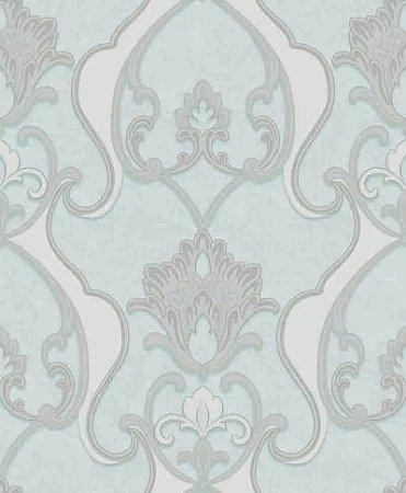 Papel de parede Florence - Brasão Flor Arabesco - Acqua, Cinza  - FR87234