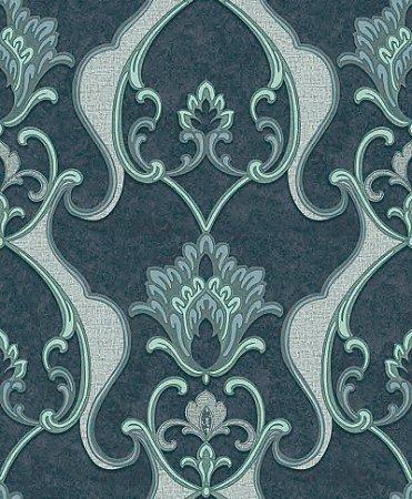 Papel de parede Florence - Brasão Flor Arabesco - Azul Escuro Jeans e Acqua - FR87235