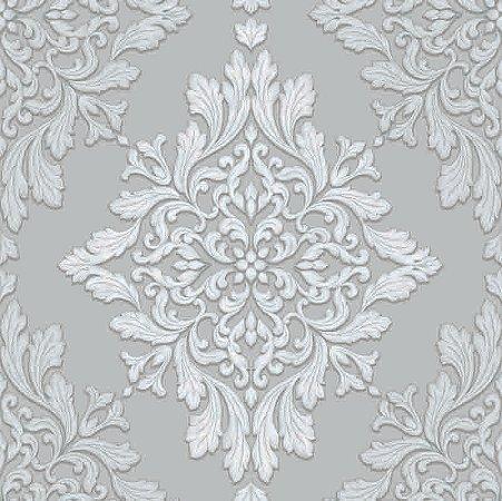 Papel de parede Florence - Brasão Lotus de Arabescos Cinza e Creme  - FR87254
