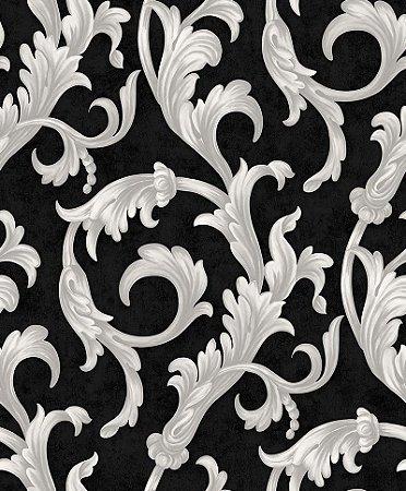 Papel de parede Florence - Arabescos Brancos com Fundo Preto - FR87295
