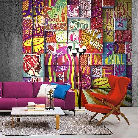 Painel Papel de Parede Coca-Cola - Mosaico Colorido 3x3 - Z41292