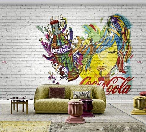 Painel Papel de Parede - Grafite no Tijolo Coca-Cola - 1x3 - Z41272