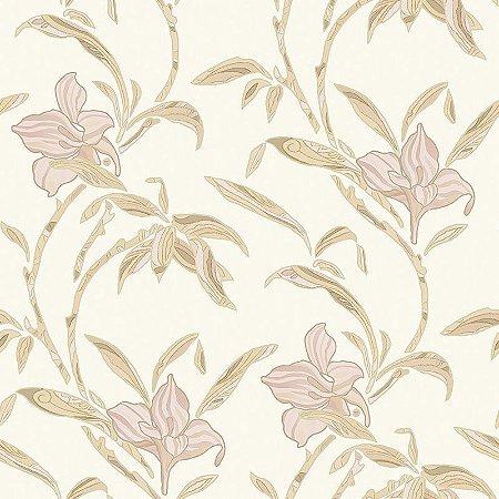 Papel de Parede Flores Marfim e Bege - HD1815