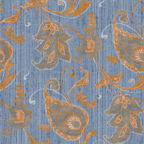 Papel de Parede Flores Azul Jeans e Laranja - HD1827