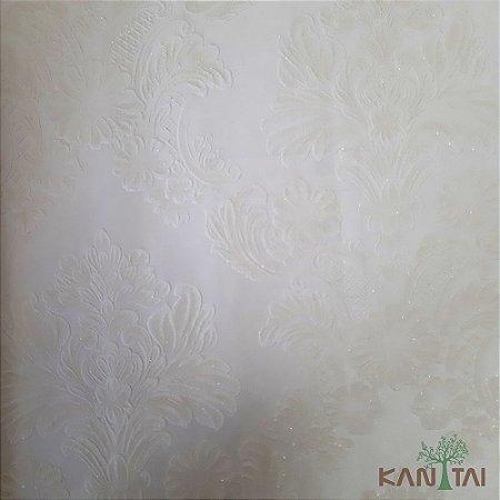 Papel de Parede Grace 3 Brasão Arabesco Branco E Marfim - 3G201504R