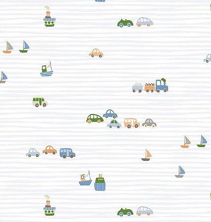 Papel de parede Nido Infantil 8701-1 Carros e listras