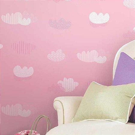 Papel de parede Nido Infantil 8705-2 Nuvens Rosa
