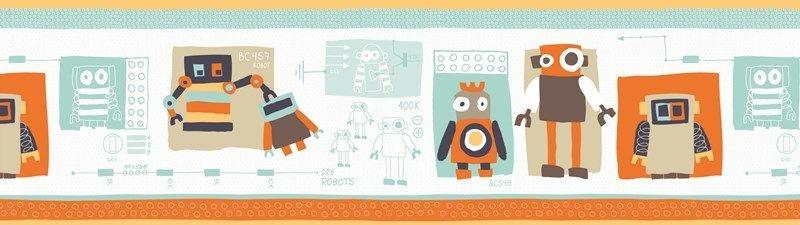 Papel de parede Borda Nido Infantil 8754-1 Robos Cores
