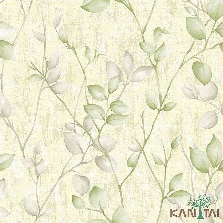 Papel de Parede Vision Folhas Creme e Verde - VI800402R