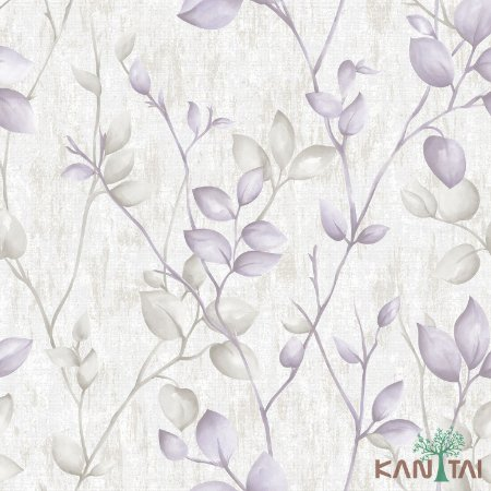 Papel de Parede Vision Folhas Violeta e Cinza - VI800403R