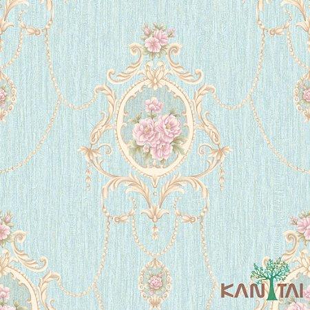 Papel de Parede Golden House 2 - Arabescos e Rosas Azul Ciano - GH261203R