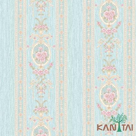 Papel de Parede Golden House 2 - Faixa Arabescos e Rosas Azul Ciano - GH261303R