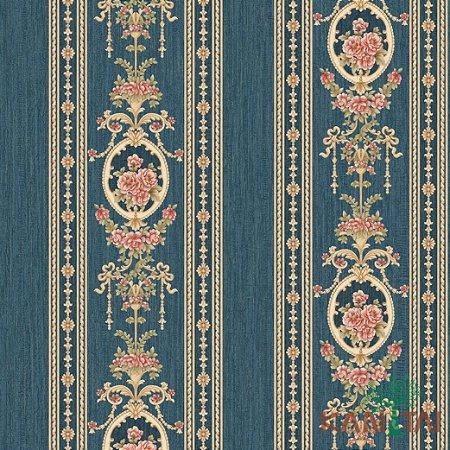 Papel de Parede Golden House 2 - Faixa Arabescos e Rosas Azul Marinho - GH261304R