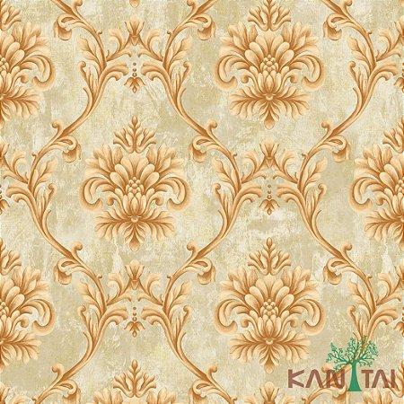 Papel de Parede Golden House 2 Medalhão Arabesco - Caramelo e Bege - GH262401R