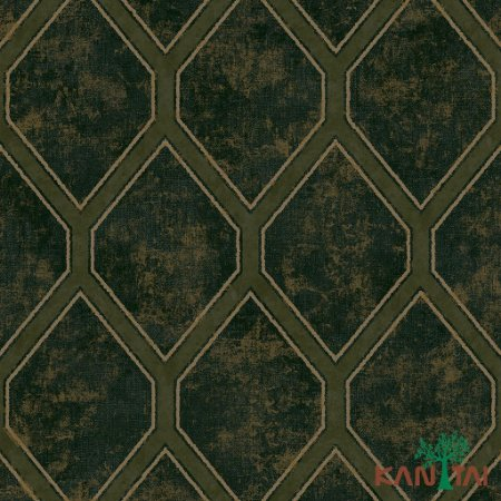 Papel de Parede Glamour Gradil Verde Com Bege - GL922515R