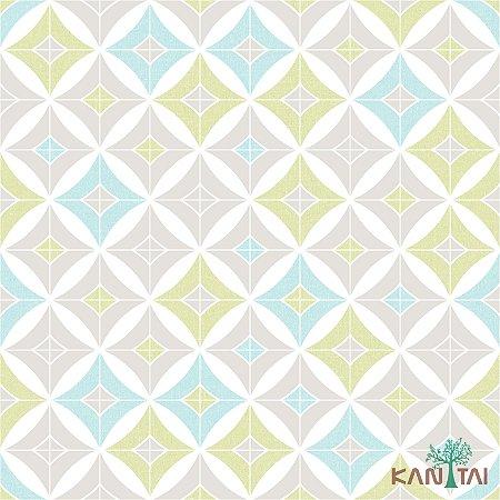 Papel de Parede Oba Estrela Cinza Com Verde e Azul Bebe - OB70105R