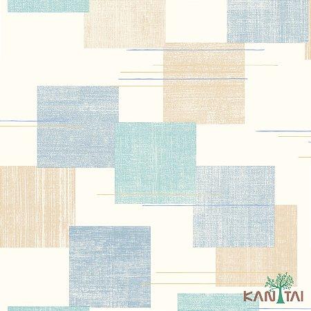 Papel de Parede Oba, Quadrados e Riscos Azul e Bege - OB70904R