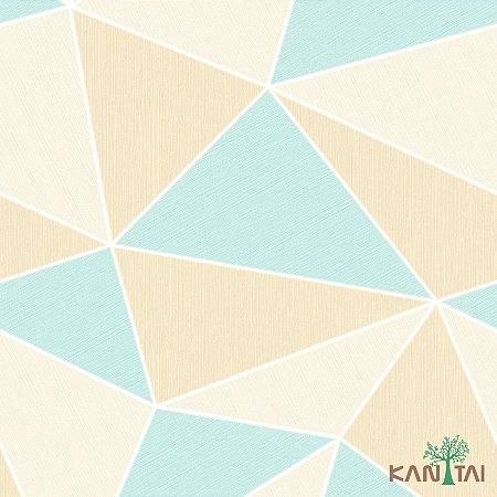 Papel de Parede Oba, Geométrico  Azul e Bege - OB71101R
