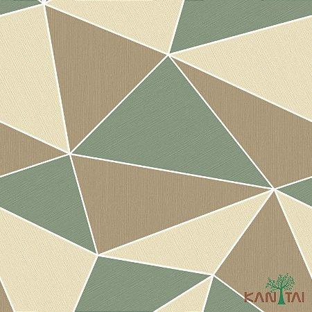 Papel de Parede Oba, Geométrico Marrom, Verde e Bege - OB71104R