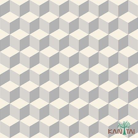 Papel de Parede Oba, Cubos em 2D Cinza e Marfim - OB71202R