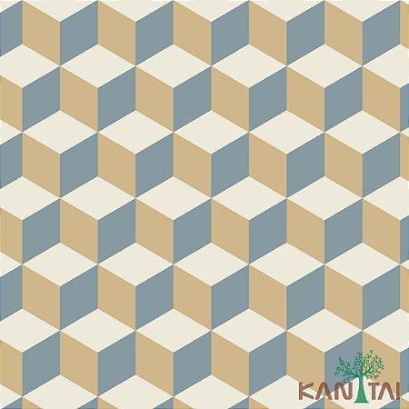 Papel de Parede Oba, Cubos em 2D Bege, Cinza e Creme - OB71204U
