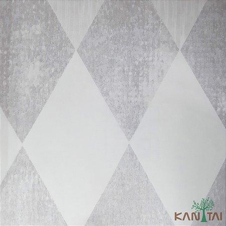 Papel de Parede Sydney 2, Losango Xadrez Branco e Cinza - SY118010R