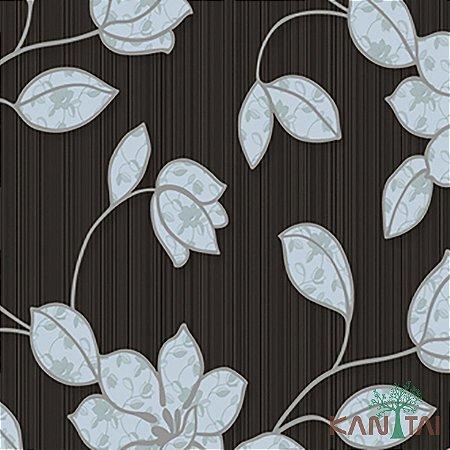 Papel de Parede Element 3 Floral Azul Fundo Marrom Chocolate - 3E303103R
