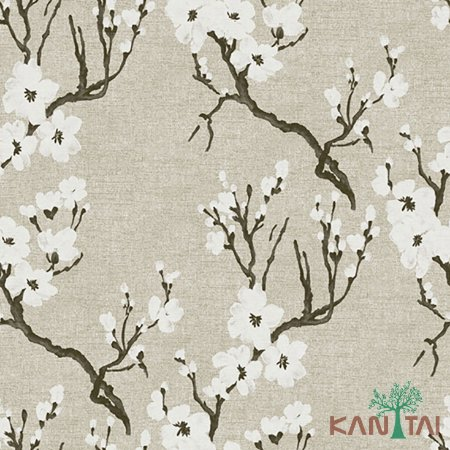 Papel de Parede Element 3 Sakura branca Fundo Bege - 3E304001R