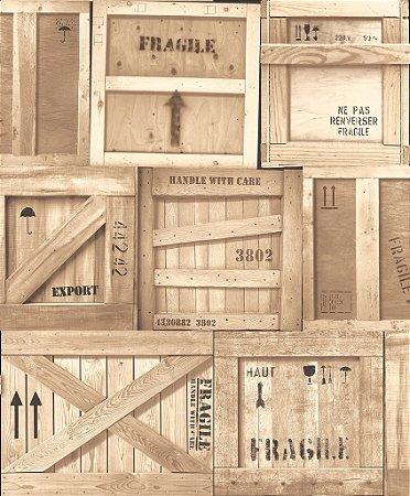 Papel de parede Vintage Caixas de Madeira Auto Relevo Replik J899-07