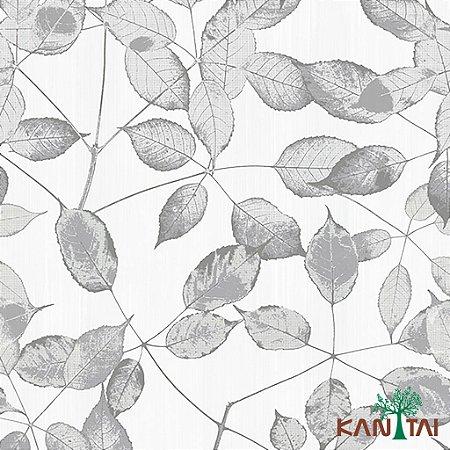 Papel de Parede Folhas Cinza - ML980801R