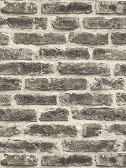 Papel de parede Tijolos a Vista Branco, Bege e Preto - J179-19