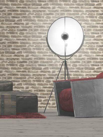 Papel de parede Tijolos a Vista Bege, Creme e Cinza - J179-18