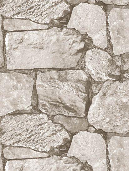 Papel de parede Pedras Grandes em Cinza, Creme - J955-07
