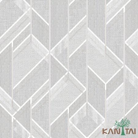 Papel de Parede Forma Geométrica Cinza, Branco e Prata - ML983502R