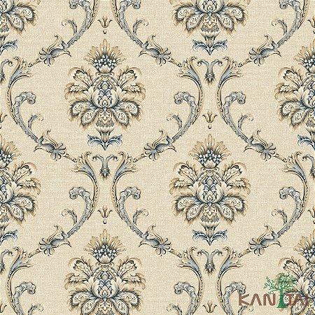 Papel de Parede Poert Chart, Delicados Arabescos Bege Com Azul- PT971102R