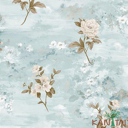 Papel de Parede Poert Chart, Rosas Celestes Branca Fundo Azul Claro- PT971303R