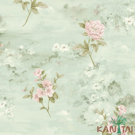 Papel de Parede Poert Chart, Rosas Celestes Rose Fundo Tiffany - PT971305R