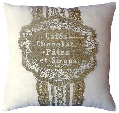 Capa para almofada Cafés, Pâtes  40 x 40 cm, 100% Algodão