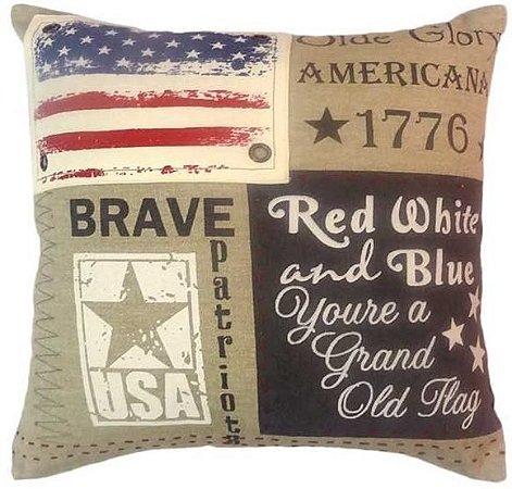 Capa para almofada Brave USA  40 x 40 cm, 100% Algodão