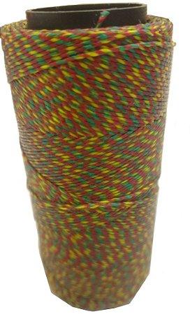 Fio Cordone Encerado Nº 4 - Reggae trançado com verde, vermelho, amarelo