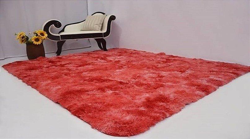 Tapete Estilo Shaggy ToroConfort Antiderrapante Vermelho Mesclado 1,00 x 1,50m