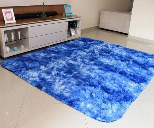 Tapete Estilo Shaggy ToroConfort Antiderrapante Azul Mesclado 1,00 x 1,50m